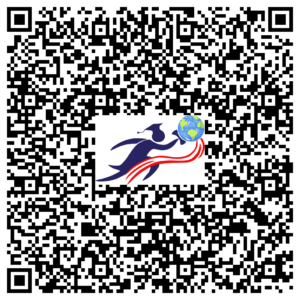 qr code containing contact us details and logo of road to abroad